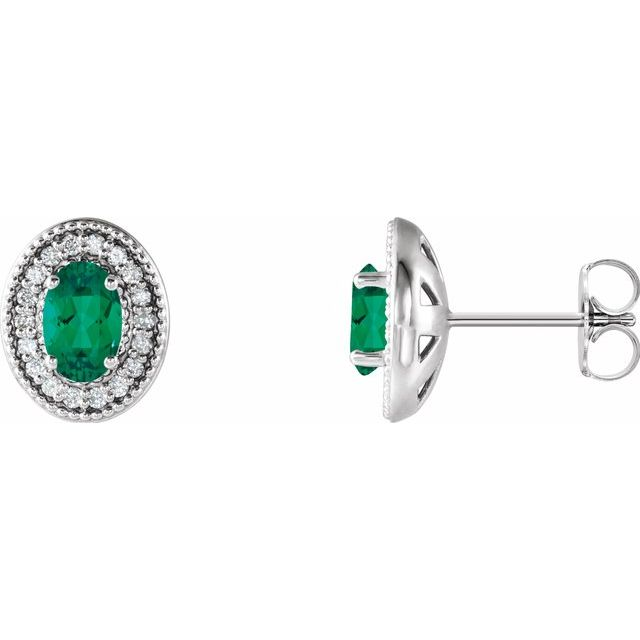 Genuine Emerald Earrings in 14 Karat White Gold Emerald & 1/5 Carat Diamond Halo-Style Earrings
