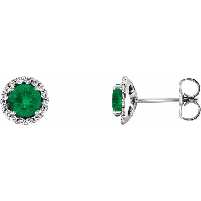 Genuine Emerald Earrings in 14 Karat White Gold Emerald & 1/6 Carat Diamond Earrings