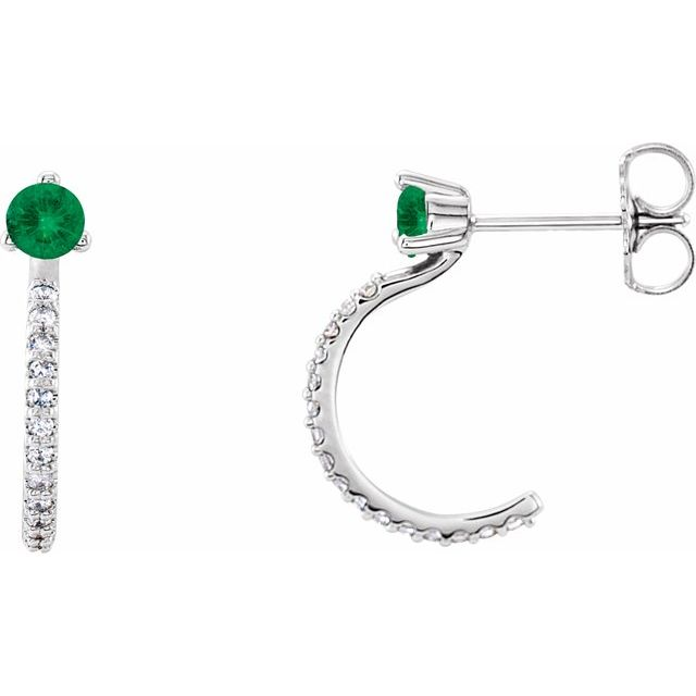 Genuine Emerald Earrings in 14 Karat White Gold Emerald & 1/6 Carat Diamond Hoop Earrings