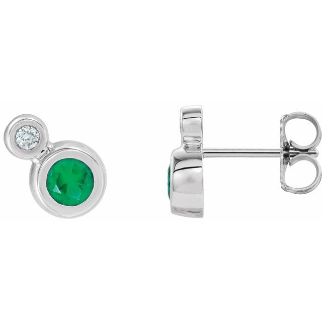 Genuine Emerald Earrings in 14 Karat White Gold Emerald & 1/8 Carat Diamond Earrings