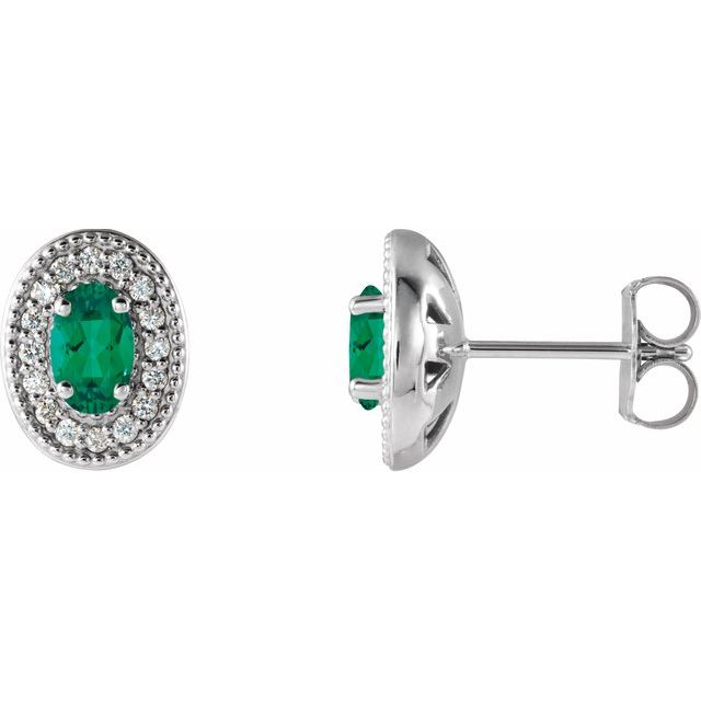 Genuine Emerald Earrings in 14 Karat White Gold Emerald & 1/8 Carat Diamond Halo-Style Earrings
