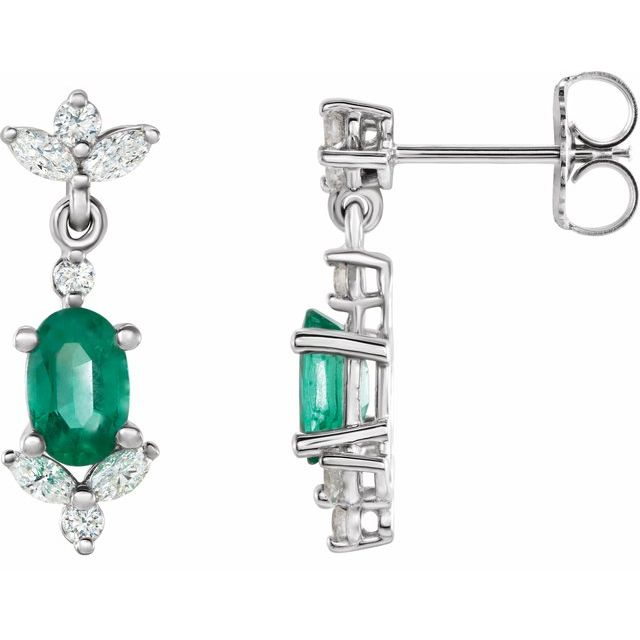 Genuine Emerald Earrings in 14 Karat White Gold Emerald & 3/8 Carat Diamond Earrings