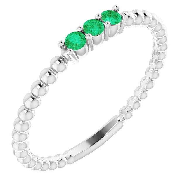 Genuine Emerald Ring in 14 Karat White Gold Emerald Beaded Ring