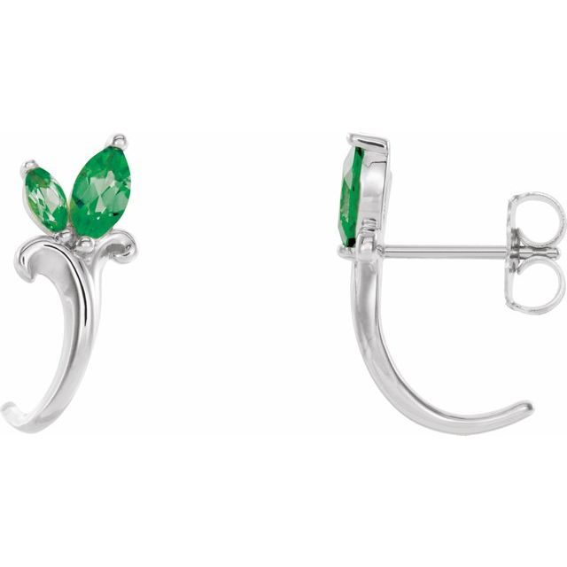 Genuine Emerald Earrings in 14 Karat White Gold Emerald Floral-Inspired J-Hoop Earrings