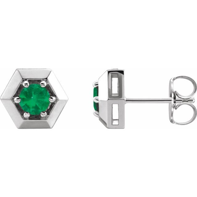 Genuine Emerald Earrings in 14 Karat White Gold Emerald Geometric Earrings