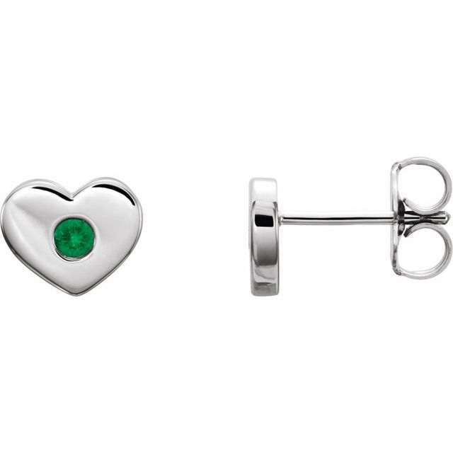 Genuine Emerald Earrings in 14 Karat White Gold Emerald Heart Earrings