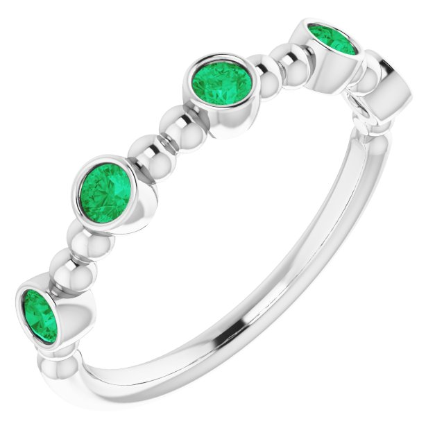 Genuine Emerald Ring in 14 Karat White Gold Emerald Stackable Beaded Ring