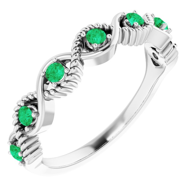 Genuine Emerald Ring in 14 Karat White Gold Emerald Stackable Ring