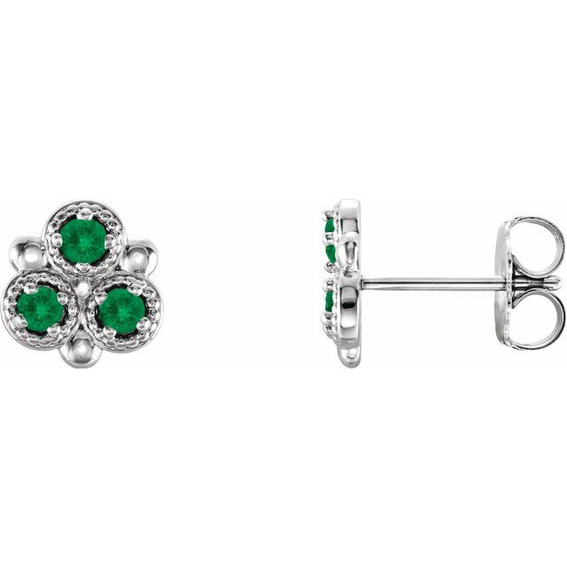 Genuine Emerald Earrings in 14 Karat White Gold Emerald Three-Stone Earrings