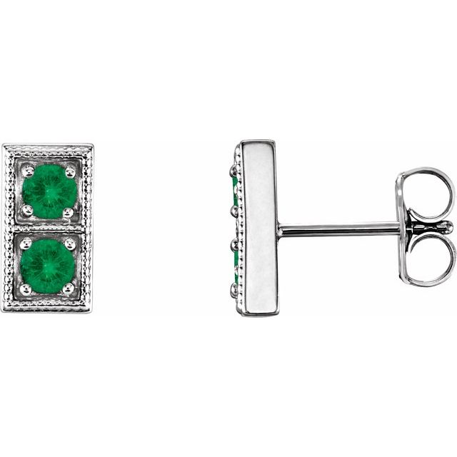 Genuine Emerald Earrings in 14 Karat White Gold EmeraldTwo-Stone Earrings