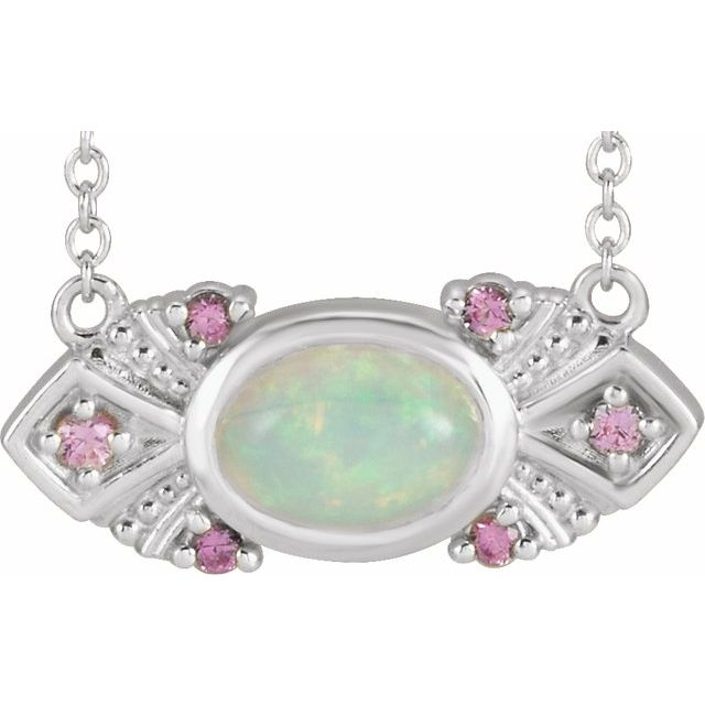 White Opal Necklace in 14 Karat White Gold Ethiopian Opal & Pink Sapphire Vintage-Inspired 16