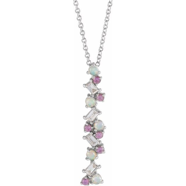 Multi-Gemstone Necklace in 14 Karat White Gold Ethiopian Opals, Pink Sapphires & 1/8 Carat Diamond Scattered Bar 16-18
