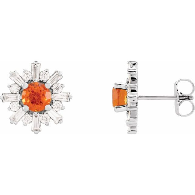 Fire Opal Earrings in 14 Karat Fire Gold Fire Opal & 3/4 Carat Diamond Earrings