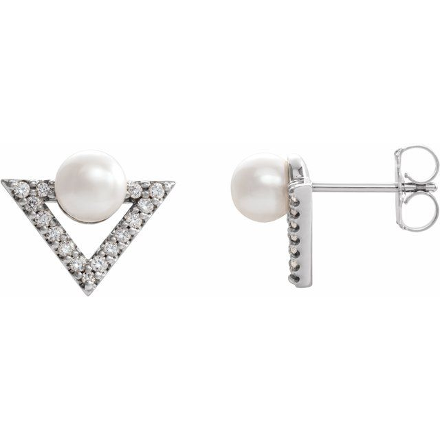 Freshwater Pearl Earrings in 14 Karat White Gold Freshwater Cultured Pearl & 1/5 Carat Diamond Earrings