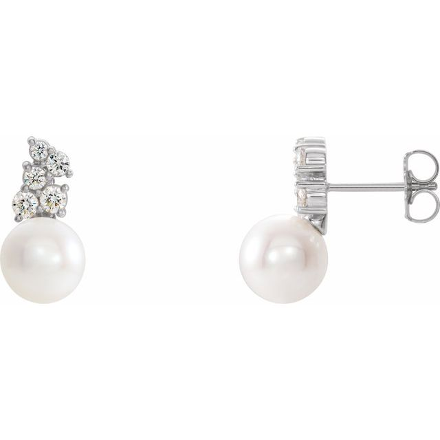 White Pearl Earrings in 14 Karat White Gold Freshwater Cultured Pearl & 3/8 Carat Diamond Earrings