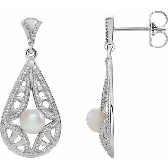 White Pearl Earrings in 14 Karat White Gold Freshwater Cultured Pearl Vintage-Inspired Earrings