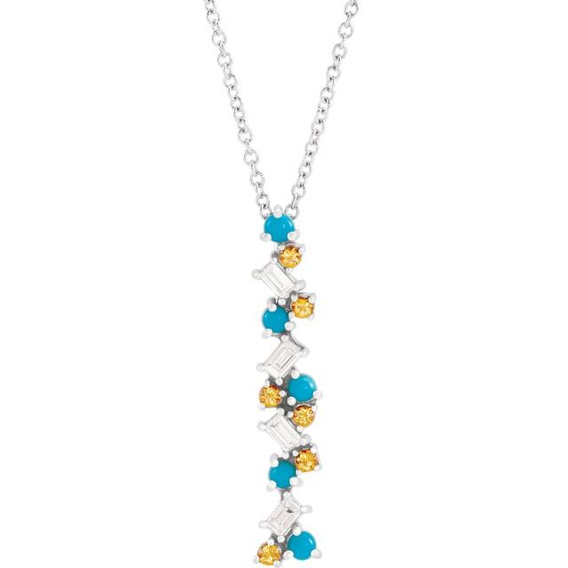 Multi-Gemstone Necklace in 14 Karat White Gold Honey Passion Topaz, Turquoise & 1/8 Carat Diamond Scattered Bar 16-18