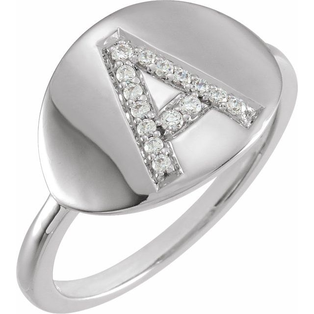 White Diamond Ring in 14 Karat White Gold Initial A 1/10 Carat Diamond Ring