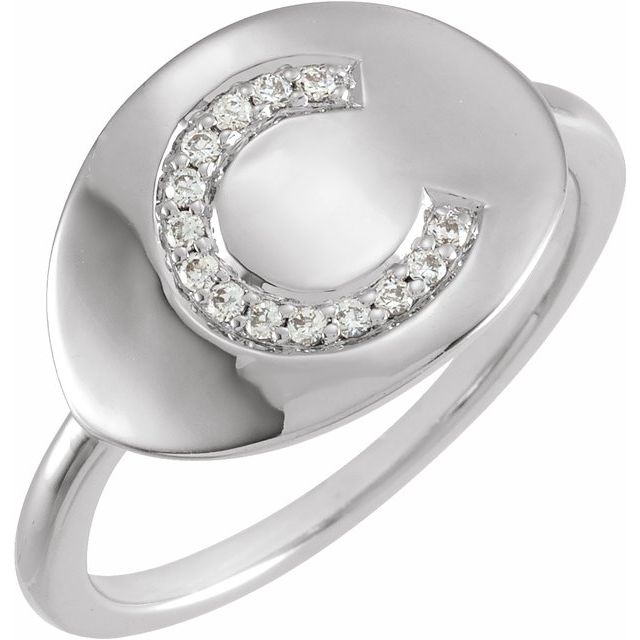 White Diamond Ring in 14 Karat White Gold Initial C .08 Carat Diamond Ring
