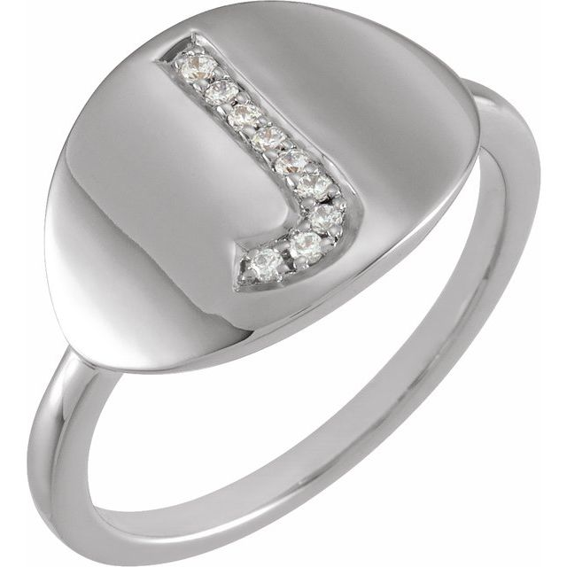 White Diamond Ring in 14 Karat White Gold Initial J .05 Carat Diamond Ring