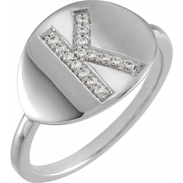 White Diamond Ring in 14 Karat White Gold Initial K 1/10 Carat Diamond Ring