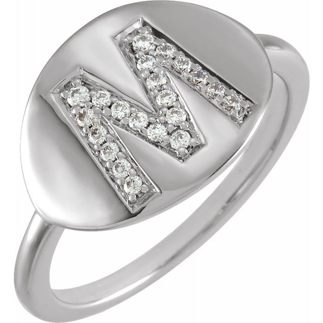 White Diamond Ring in 14 Karat White Gold Initial M 1/8 Carat Diamond Ring