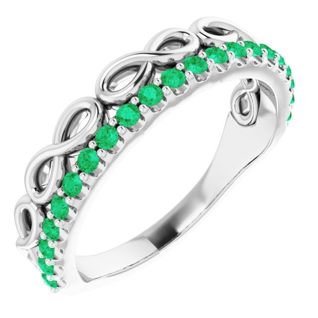 Genuine Chatham Created Emerald Ring in 14 Karat White Gold Lab-Created Emerald Stackable Infinity-Inspired Heart Ring