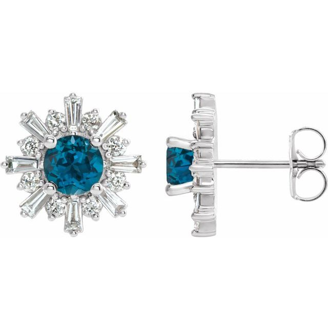Topaz Earrings in 14 Karat White Gold London Topaz & 3/4 Carat Diamond Earrings