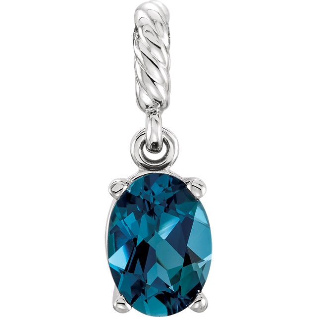 Beautiful 14 Karat White Gold London Blue Topaz Pendant
