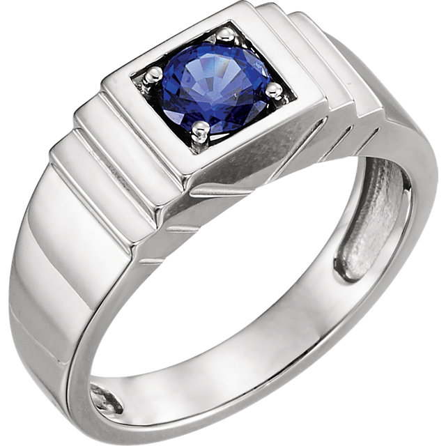 Great Deal in 14 Karat White Gold Men's Genuine Chatham Created Created Blue Sapphire Ring