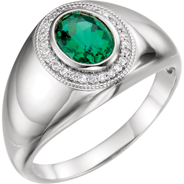 Contemporary 14 Karat White Gold Men's Genuine Chatham Created Created Emerald & Diamond Accented Ring