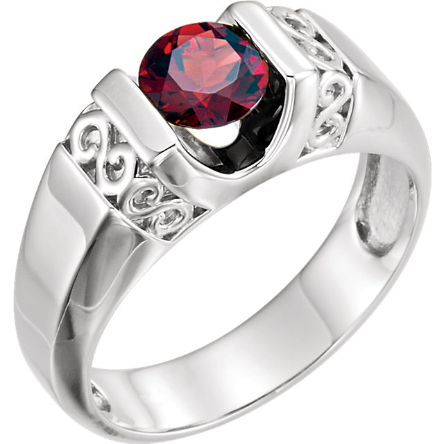 Wonderful 14 Karat White Gold Men's Mozambique Garnet Ring