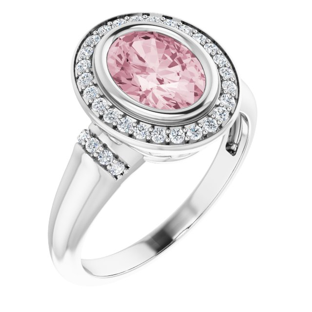 Pink Morganite Ring in 14 Karat White Gold Morganite & 1/5 Carat Diamond Ring