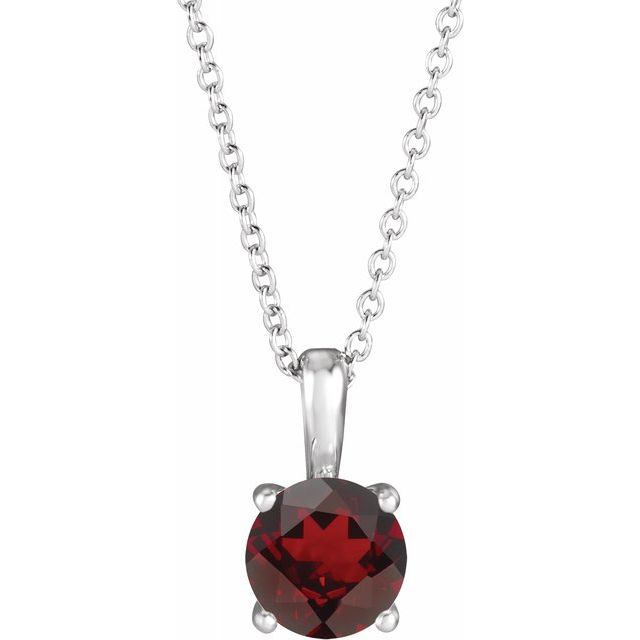 Red Garnet Necklace in 14 Karat White Gold Mozambique Garnet 16-18
