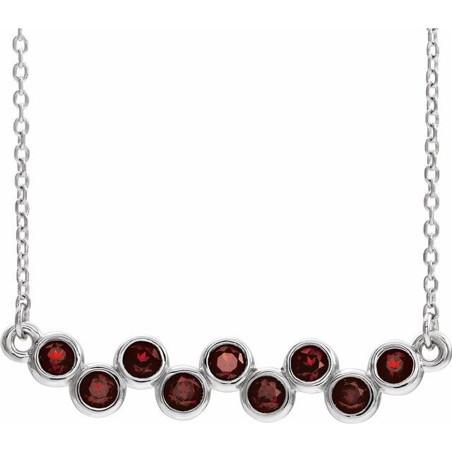 Red Garnet Necklace in 14 Karat White Gold Mozambique Garnet Bezel-Set Bar 16-18
