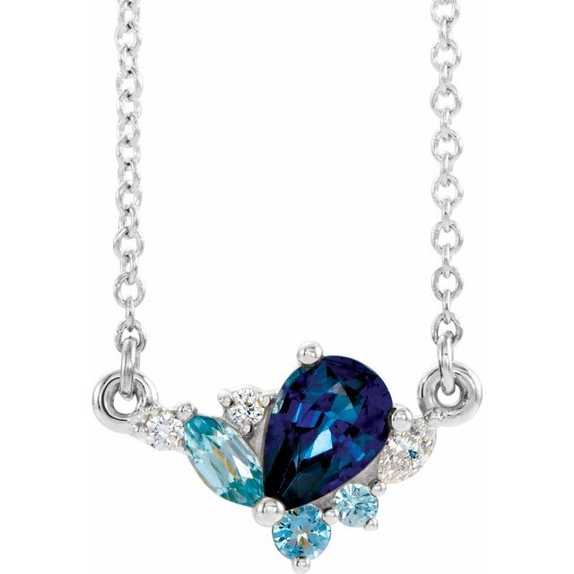 Genuine Sapphire Necklace in 14 Karat White Gold Multi-Gemstone & .06 Carat Diamond 16