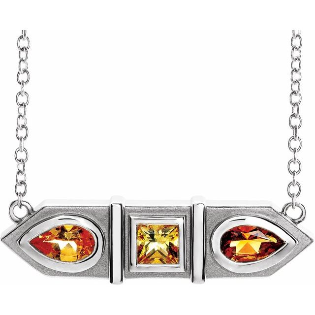 Multi-Gemstone Necklace in 14 Karat White Gold Multi-Gemstone Geometric Bar 18