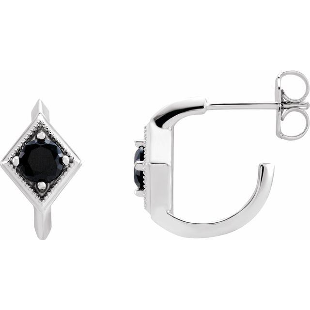 Black Black Onyx Earrings in 14 Karat White Gold Onyx Geometric Hoop Earrings