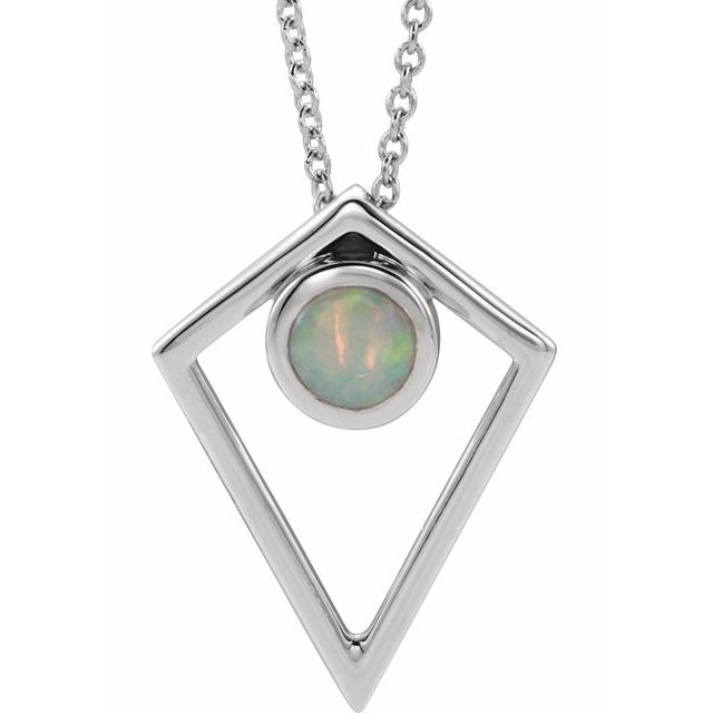 White Opal Necklace in 14 Karat White Gold Opal Cabochon Pyramid 16-18