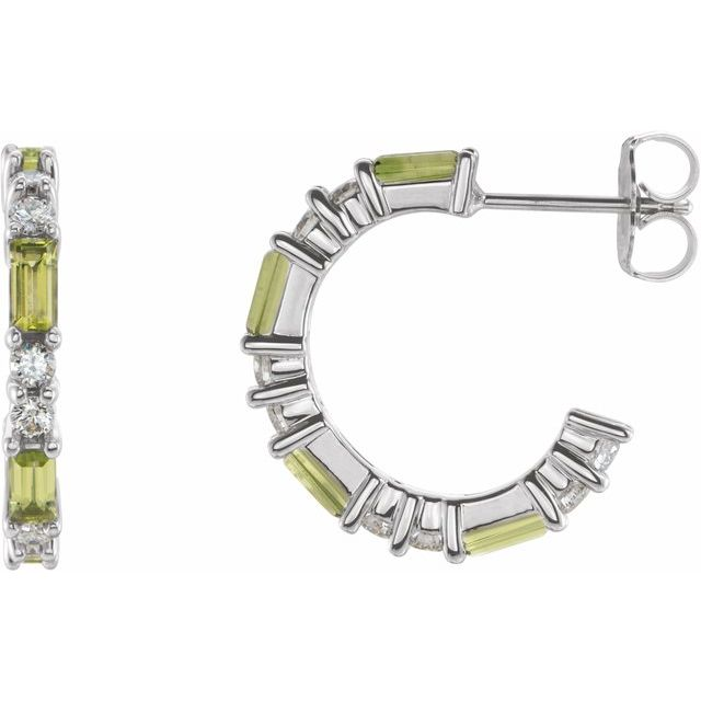 Genuine Peridot Earrings in 14 Karat White Gold Peridot & 1/2 Carat Diamond Earrings