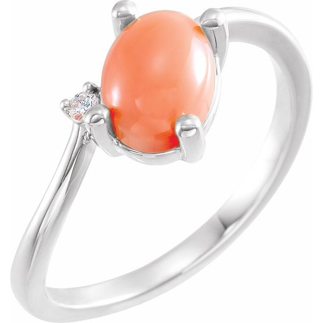 Pink Coral Ring in 14 Karat White Gold Pink Coral & .015 Carat Diamond Bypass Ring