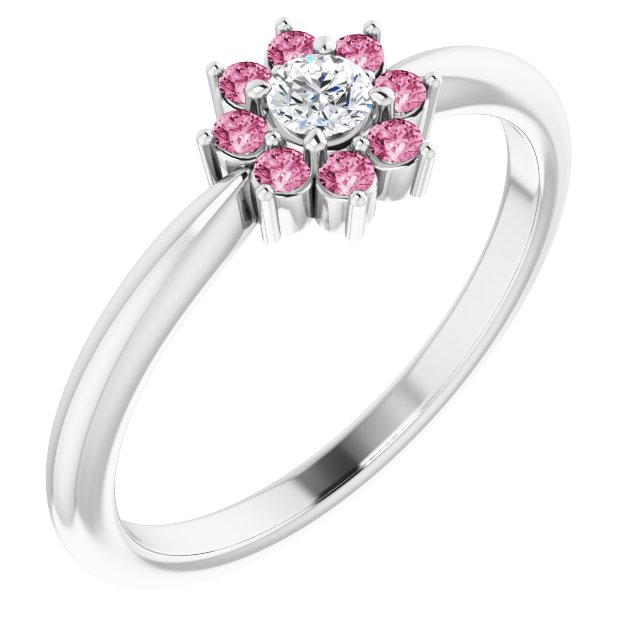 White Diamond Ring in 14 Karat White Gold Pink Tourmaline & .06 Carat Diamond Flower Ring