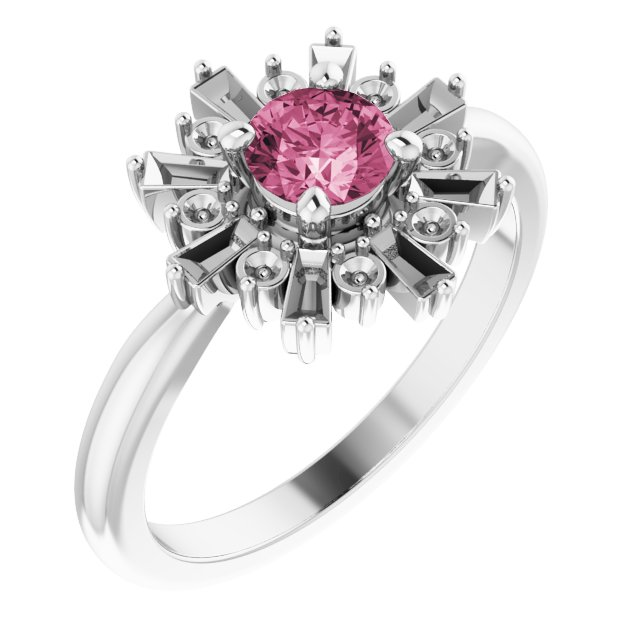 Pink Tourmaline Ring in 14 Karat White Gold Pink Tourmaline & 3/8 Carat Ring