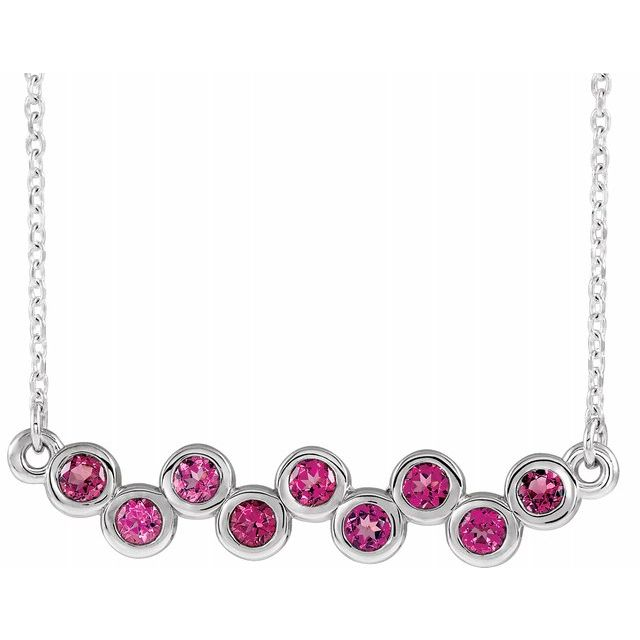 Pink Tourmaline Necklace in 14 Karat White Gold Pink Tourmaline Bezel-Set Bar 16-18
