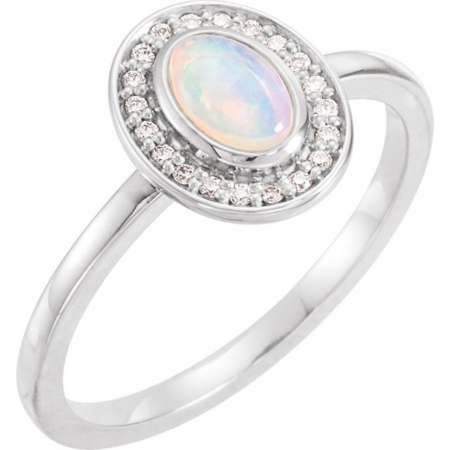 Moonstone Ring in 14 Karat White Gold Rainbow Moonstone & 1/10 Carat Diamond Halo-Style Ring