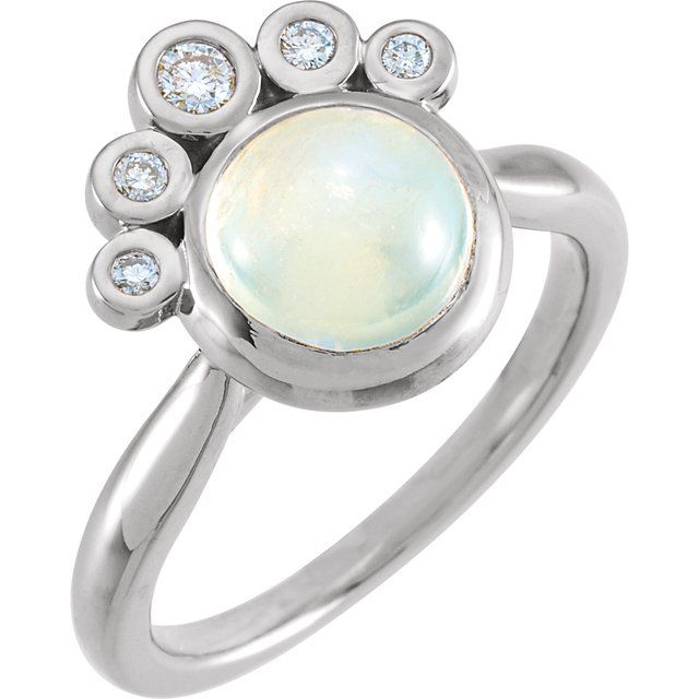 Moonstone Ring in 14 Karat White Gold Rainbow Moonstone & 1/8 Carat Diamond Ring
