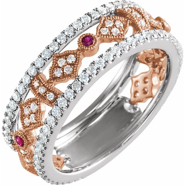 Natural Ruby Ring in 14 Karat White & Rose Gold Ruby & 3/4 Carat Diamond Ring