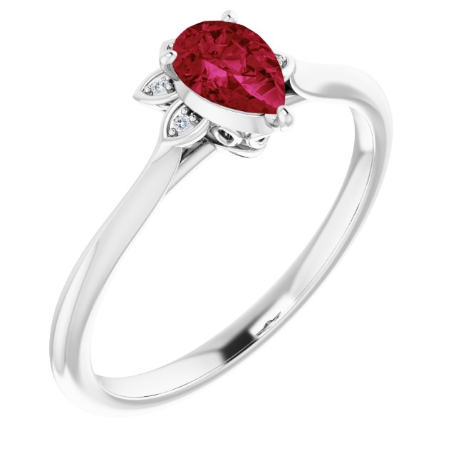 Natural Ruby Ring in 14 Karat White Gold Ruby & .015 Carat Diamond Ring