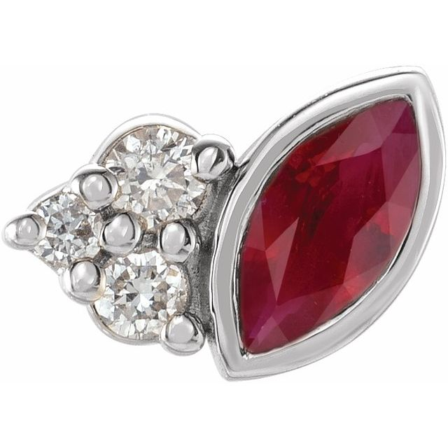 Natural Ruby Earrings in 14 Karat White Gold Ruby & .03 Carat Diamond Right Earring