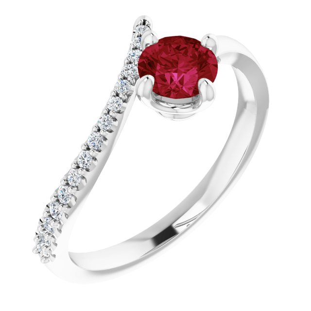 Natural Ruby Ring in 14 Karat White Gold Ruby & 1/10 Carat Diamond Bypass Ring